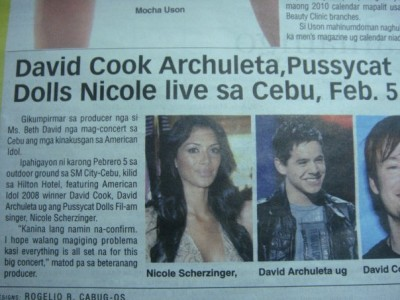 Headline news story depicting David Archuleta
