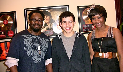 David Archuleta with songwriters Dapo Torimiro and Priscilla