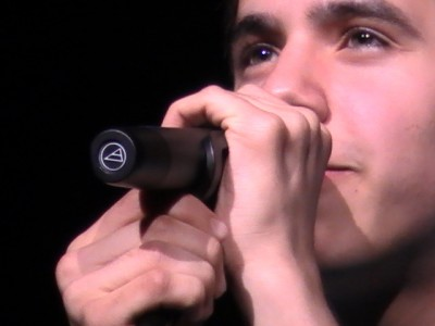 close up of David Archuleta singing