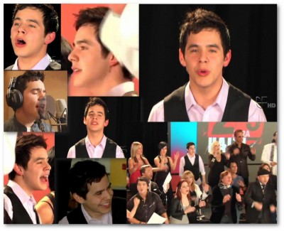 "collage photos of David Archuleta singing ""Somos el Mundo"""