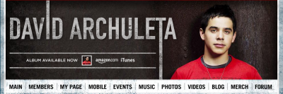 banner for David Archuleta web site