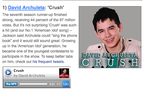 "David Archuleta's ""Crush"" No. 1 AI song on AOL Radio"