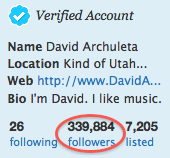 Twitter count of 339,884 followers for David Archuleta