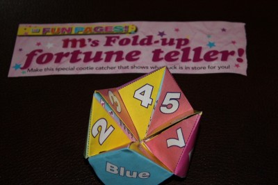 m magazine fold-up fortune teller game