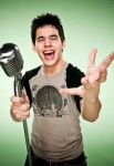 David Archuleta, studio shot, with big microphone, American Idol 2008