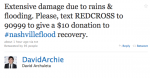 screen cap of David Archuleta tweet about Nashville flooding