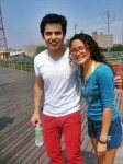 Red, white, and blue, David Archuleta with fan, Coney Island, NY, 24 June 2010