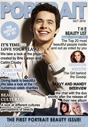 David Archuleta on the cover of Portrait Magazine, October 2010
