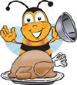 Bee and turkey cartoon