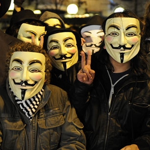 Anonymous Hackers in face masks