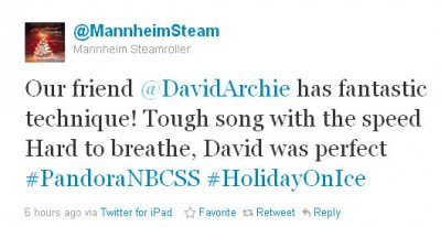 tweet about David Archuleta and Mannheim Steamroller